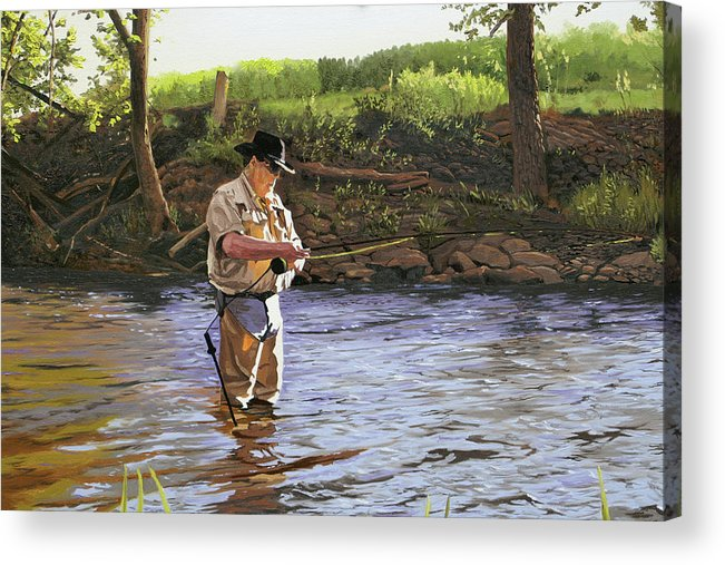 Fisherman Acrylic Print featuring the painting Fly Fisherman by Kenneth Young