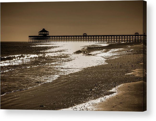 Folly Acrylic Print featuring the photograph Folly Pier Sunset by Drew Castelhano