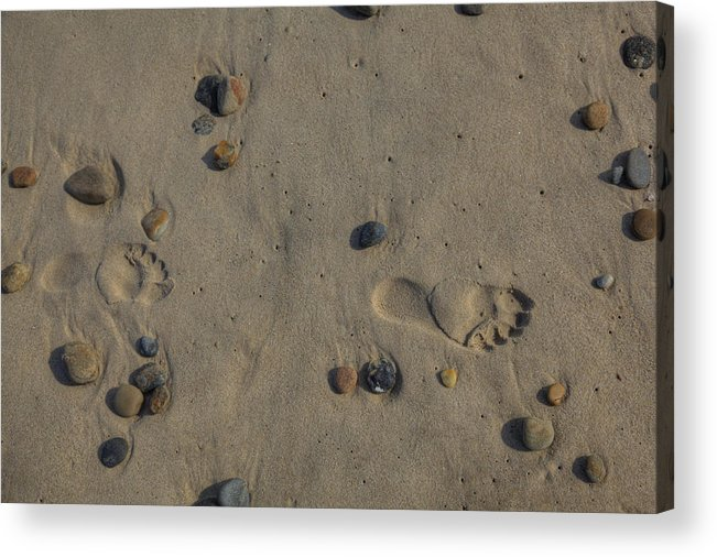 Montauk Ny Acrylic Print featuring the photograph Footprints In The Sand by Steve Gravano