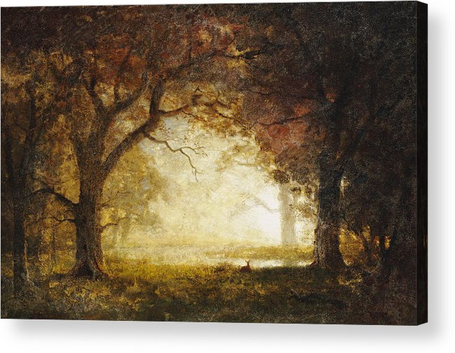 Landscape; American; Wood; Dawn; Clearing; Deer Acrylic Print featuring the painting Forest Sunrise by Albert Bierstadt