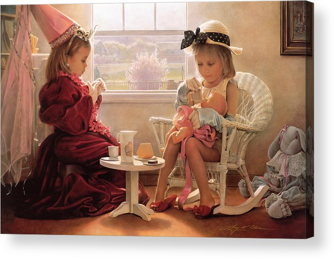 Girls Acrylic Print featuring the painting Formal Luncheon by Greg Olsen