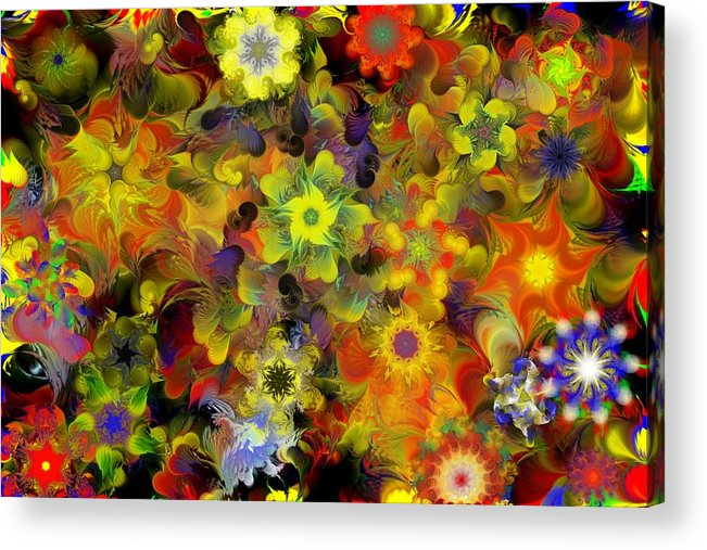 Digital Painting Acrylic Print featuring the digital art Fractal Floral Study 10-27-09 by David Lane