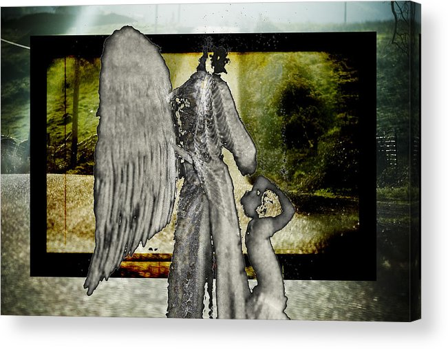 Digital Acrylic Print featuring the photograph Framed Angel by Tony Wood