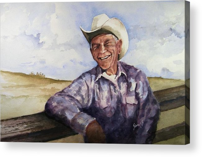 Cowboy Smile Friendly Happy Texan Texas Music Fiddler Acrylic Print featuring the painting Frankie by Sam Sidders