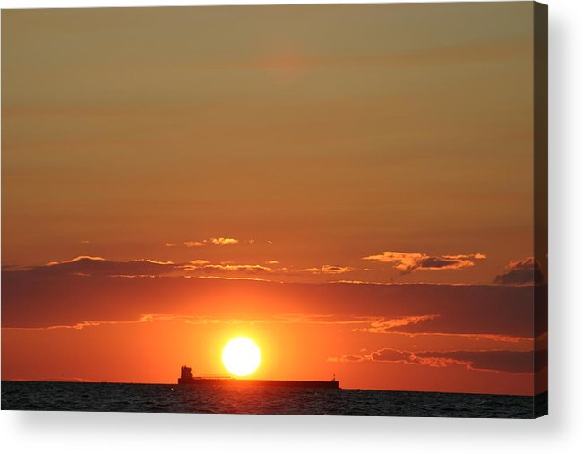 Sunset Acrylic Print featuring the photograph Freighter Sunset by Kevin Dunham