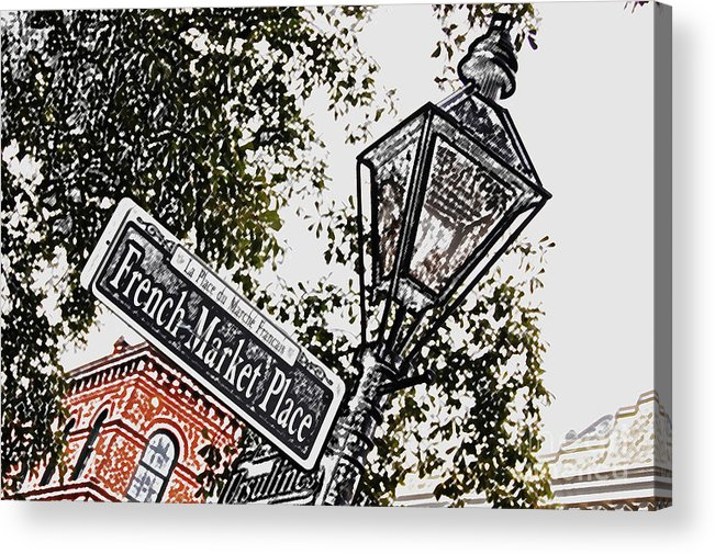 Travelpixpro New Orleans Acrylic Print featuring the digital art French Quarter French Market Street Sign New Orleans Colored Pencil Digital Art by Shawn O'Brien