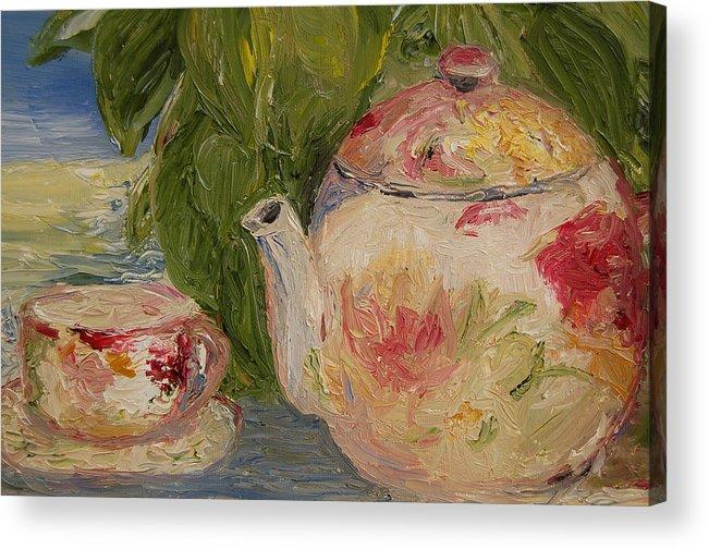 Konkol Acrylic Print featuring the painting French Teapot by Lisa Konkol