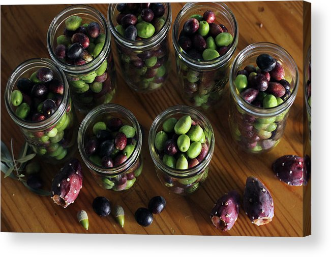 Nopales Acrylic Print featuring the photograph Fresh Harvested Olives And Tunas by Hope