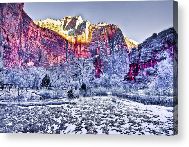 Landscape Acrylic Print featuring the digital art Frozen Zion by Ches Black