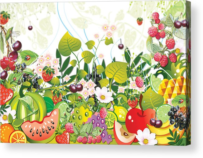 Fruits Acrylic Print featuring the digital art Fruit Garden by Lesley Smitheringale