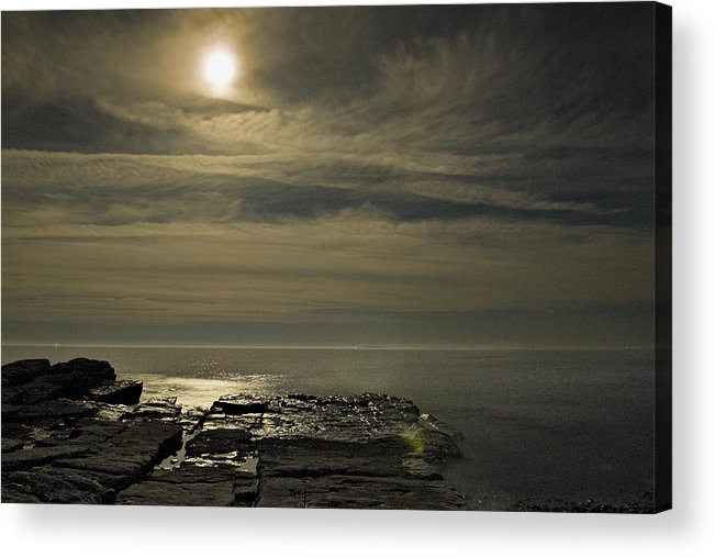 Acadia Acrylic Print featuring the photograph Full Moon Over Seawall by Jack Goldberg