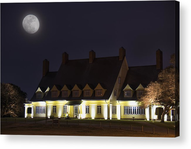 Corolla Acrylic Print featuring the photograph Full Moon Over Whalehead by Dennis Kowalewski