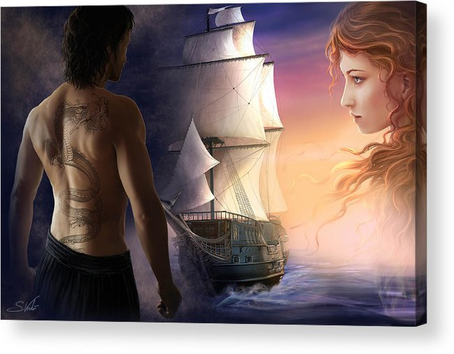 Landscape Acrylic Print featuring the painting Galeon On The Horizon by Sonia Verdu