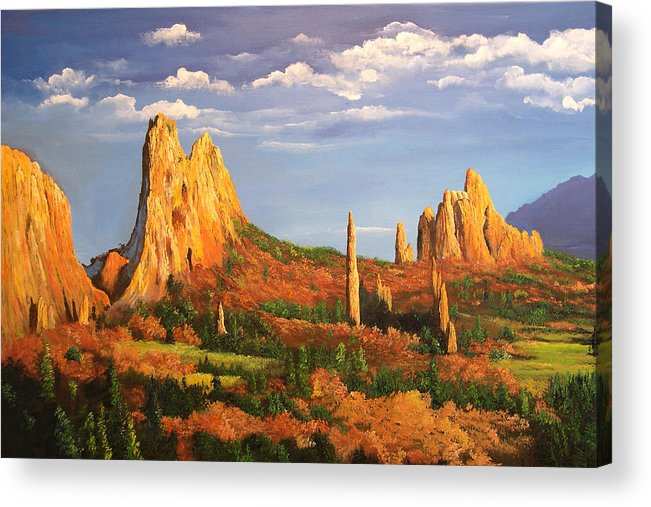 Connie Tom Acrylic Print featuring the painting Garden Of The Gods by Connie Tom