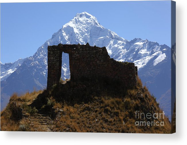 Peru Acrylic Print featuring the photograph Mt Veronica And Inti Punku Sun Gate by James Brunker