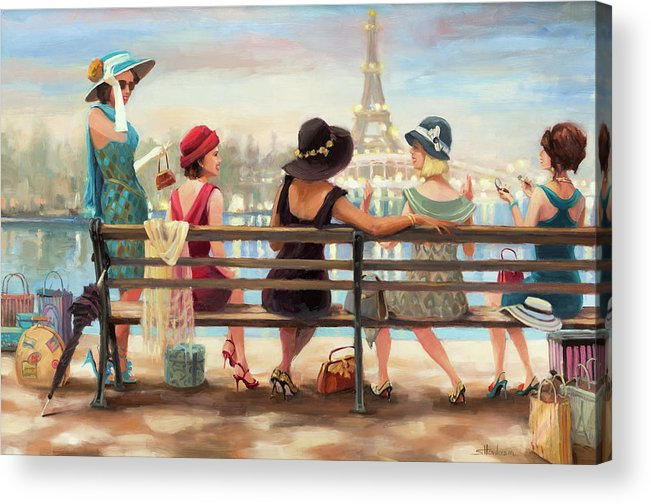 Paris Acrylic Print featuring the painting Girls Day Out by Steve Henderson