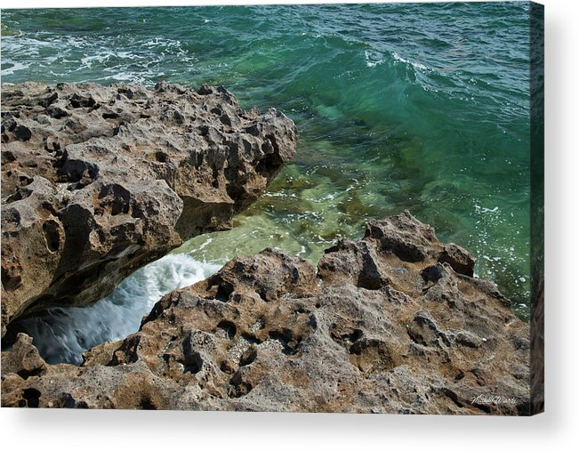 Wave Acrylic Print featuring the photograph Glass Wave Blowing Rocks Preserve Jupiter Island Florida by Michelle Constantine