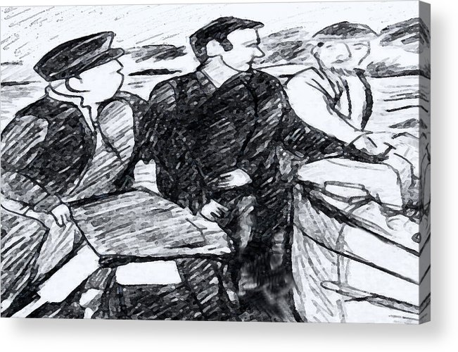 Saiors Acrylic Print featuring the drawing Going Fishing by Monica Engeler