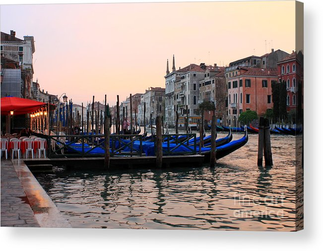 Venice Acrylic Print featuring the photograph Gondolas On The Grand Canal In Venice In The Morning by Michael Henderson