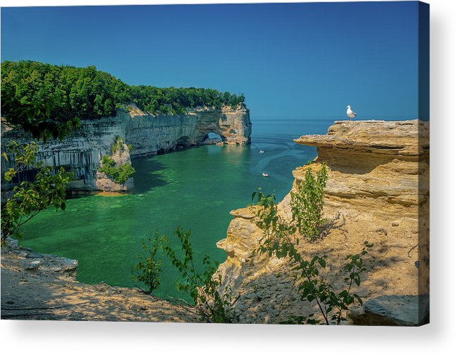 Pictured Rocks National Lakeshore Acrylic Print featuring the photograph Grand Portal Point by Gary McCormick