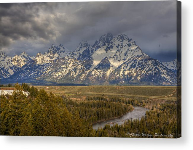 Grand Tetons Acrylic Print featuring the photograph Grand Tetons Snake River by Charles Warren