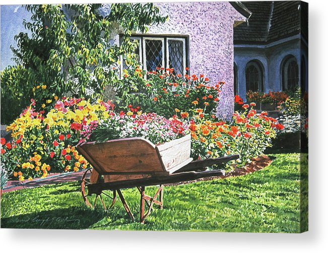 Garden Acrylic Print featuring the painting Grandad's Wheelbarrow by David Lloyd Glover