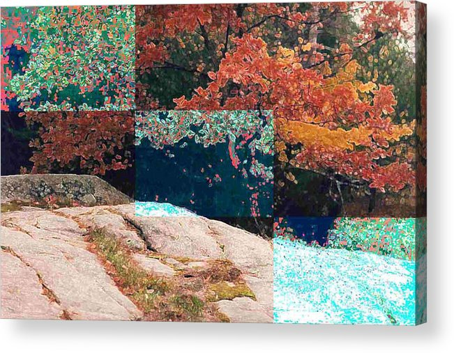 Landscape Acrylic Print featuring the photograph Granite Outcrop And Fall Leaves Aep3 by Lyle Crump