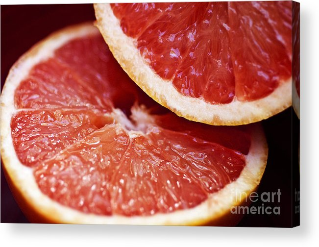 Circle Acrylic Print featuring the photograph Grapefruit Halves by Ray Laskowitz - Printscapes