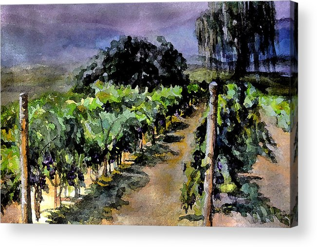 Vineyard Acrylic Print featuring the painting Grapes Of Niagara by Mary Sonya Conti