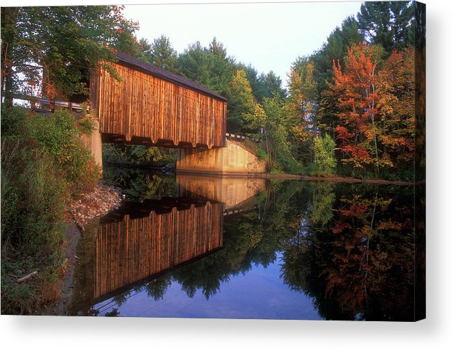 Covered Bridge Acrylic Print featuring the photograph Greenfield Nh Covered Bridge by John Burk