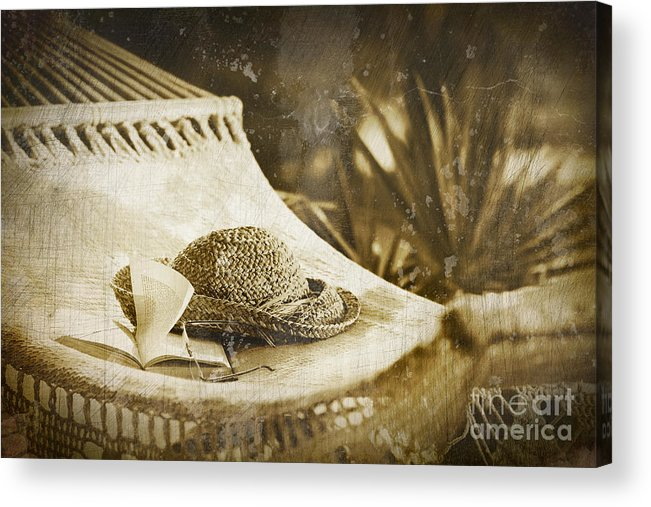 Garden Acrylic Print featuring the photograph Grunge Photo Of Hammock And Book by Sandra Cunningham