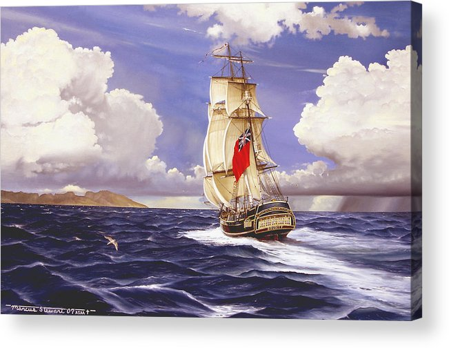 Marine Acrylic Print featuring the painting H. M. S. Bounty At Tahiti by Marc Stewart