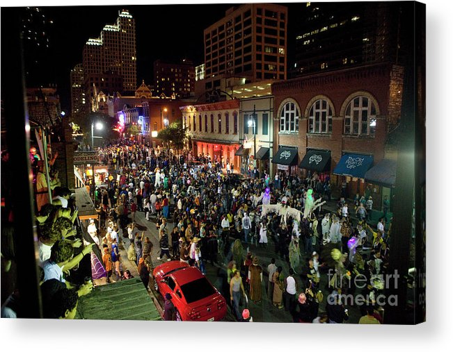 Sixth Street Acrylic Print featuring the photograph Halloween Draws Tens Of Thousands To Celebrate On 6th Street by Austin Welcome Center