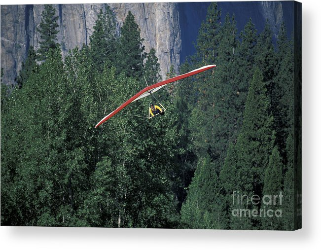 California Acrylic Print featuring the photograph Hang Glider In Yosemite by Stan and Anne Foster