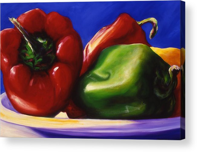 Still Life Acrylic Print featuring the painting Harvest Festival Peppers by Shannon Grissom