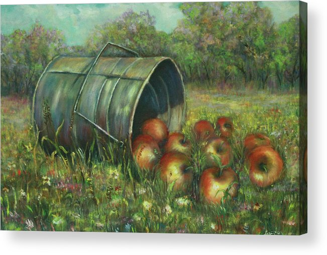 Luczay Acrylic Print featuring the painting Harvest With Red Apples by Luczay