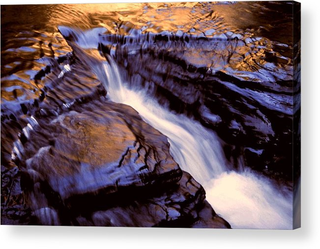 Abstract Acrylic Print featuring the photograph Havana Glen Reflection by Roger Soule