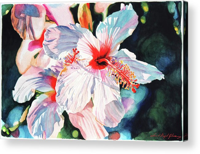 Hibiscus Acrylic Print featuring the painting Hawaiian Hibiscus by David Lloyd Glover