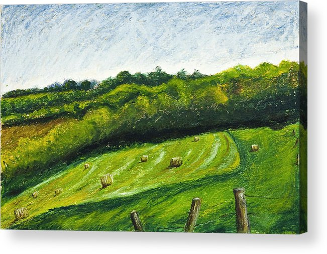 Landscape Acrylic Print featuring the painting Hayfield by Robert Sako