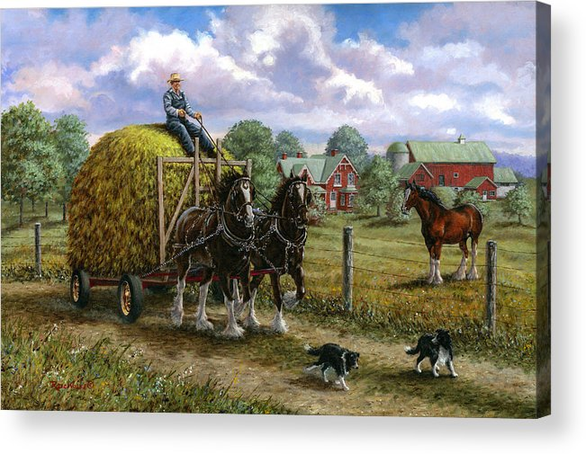 Farm Acrylic Print featuring the painting Heading For The Loft by Richard De Wolfe