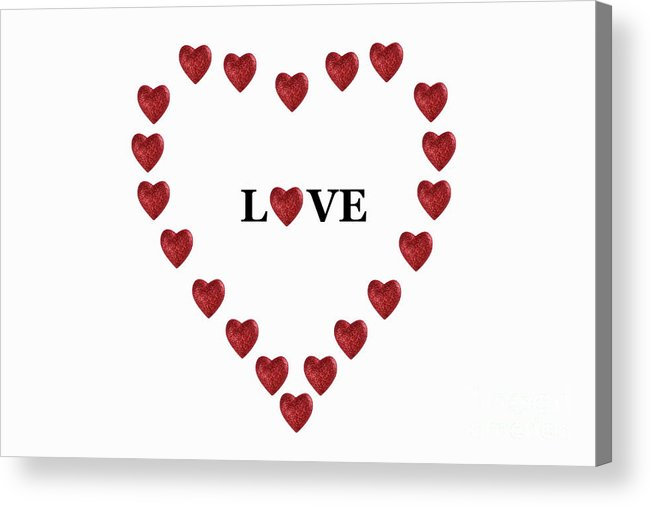 Simplicity Acrylic Print featuring the photograph Heart Shapes Forming Heart Around Word 'love' by Sami Sarkis