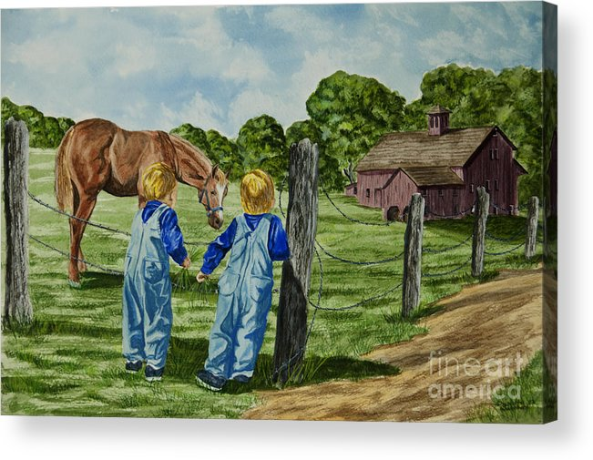 Country Kids Art Acrylic Print featuring the painting Here Horsey Horsey by Charlotte Blanchard