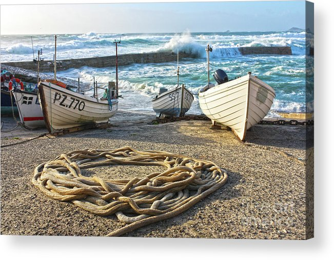 Harbor Acrylic Print featuring the photograph High Tide In Sennen Cove Cornwall by Terri Waters
