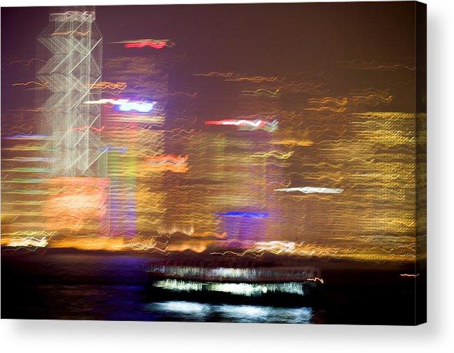 Hong Kong Acrylic Print featuring the photograph Hong Kong Harbor Abstracted by Brad Rickerby