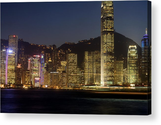 City Acrylic Print featuring the photograph Hong Kong Harbor December 1 by Brad Rickerby