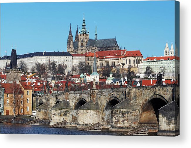 Rare Acrylic Print featuring the photograph Hradcany - Cathedral Of St Vitus And Charles Bridge by Michal Boubin
