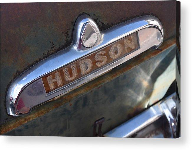 Car Acrylic Print featuring the photograph Hudson Car Emblem by Sharon Wunder Photography