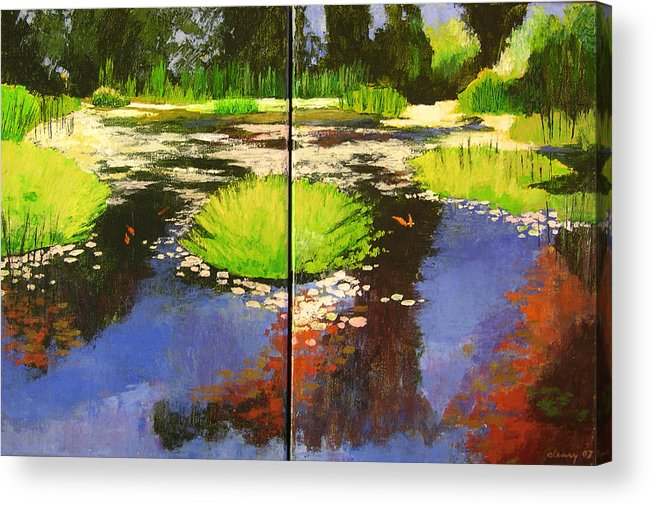 Melody Cleary Acrylic Print featuring the painting Hughes Water Garden by Melody Cleary
