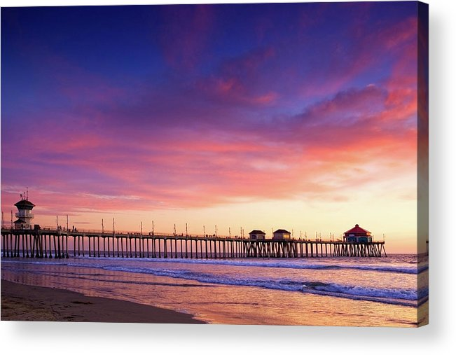 Sunset Acrylic Print featuring the photograph Huntington Beach Pier Sunset by Anna Floridia