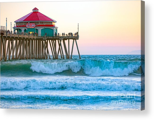 Huntington Beach Acrylic Print featuring the photograph Huntington Pier by Anthony Baatz